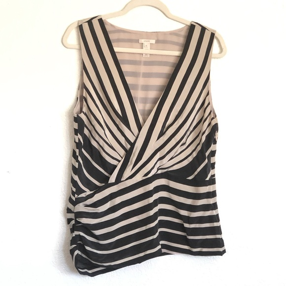 J. Crew Tops - J. Crew SILK asymmetrical V-neck wrap striped top